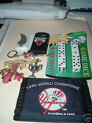 NY YANKEES VELCRO WALLET, BULLS FLASHLIGHT/KEYCHAIN,PLAYING DICE,PINS