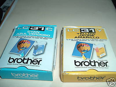 GENUINE BROTHER YELLOW 31Y/LC31Y AND CYAN C31/LC31C
