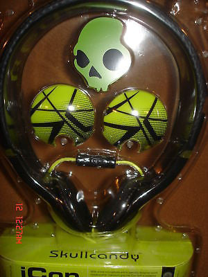 Skullcandy Icon Soft Black/Bright Green Mic Headphones-Brand New Factory Sealed