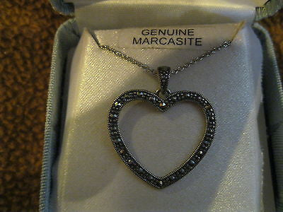 "18"" Sterling Silver Chain/Necklace with Genuine Marcasite Heart Pendant-New!"