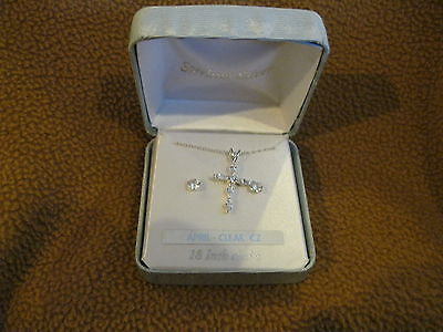 "18"" Sterling Silver Necklace w/April CZ Stud Crucifix/Cross+Matching Earrings"
