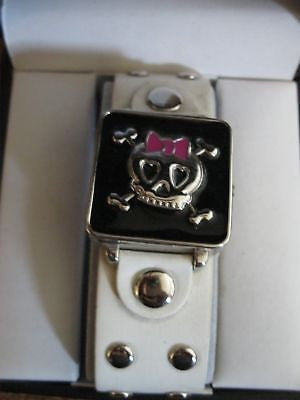 CROSS BONE FLIP UP WHITE STUDDED LEATHER WOMEN'S WATCH-NEW IN BOX!