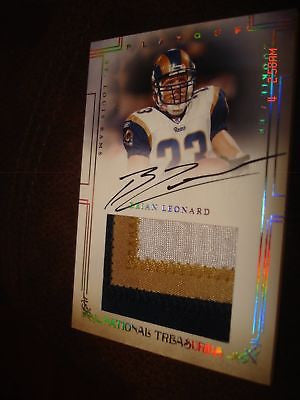 BRIAN LEONARD  NATIONAL TREASURES AUTO 3-CLR PATCH #/99-ST. LOUIS RAMS/BUCANEERS