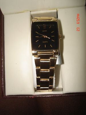 GNW GOLD CLAPSE BAND MEN'S ANALOG ROMAN NUMERIAL WATCH