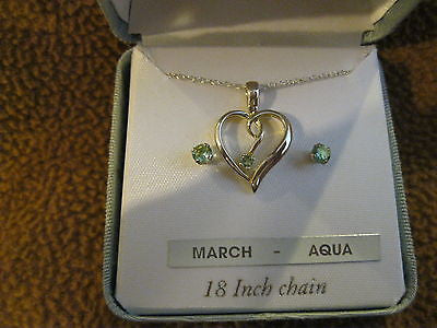 "18"" Sterling Silver Necklace with March Aqua Sterling Heart Pendant+Earrings"