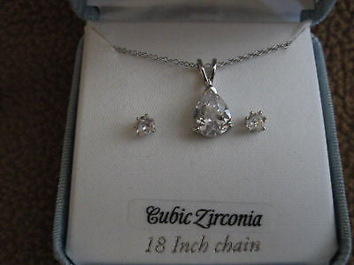 "18"" Sterling Silver Necklace & Solitaire Cubic Zirconia  Earrings Combo Set-NIB!"