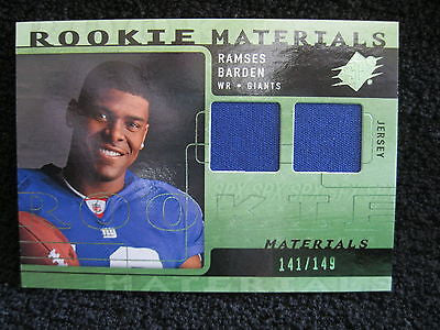 RAMSES BARDEN RC 2009 SPX BLUE DUAL PATCH ROOKIE MATERIALS#/149-GIANTS WR RC