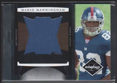 MARIO MANNINGHAM RC 2008 LEAF LIMITED RC JUMBO PATCH CARD#12/50-GIANTS WR RC