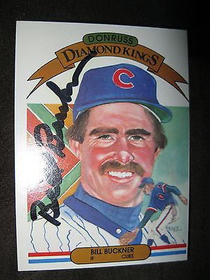 BILL BUCKNER AUTOGRAPHED 1983 DONRUSS DIAMOND KINGS CARD WITH COA-CHICAGO CUBS