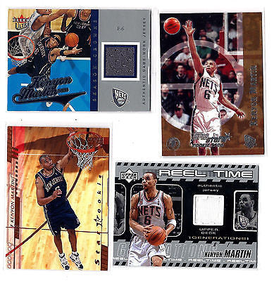 Kenyon Martin ROOKIE 2000/01 2 CARD ROOKIE & 2 CARD GAME WORN JERSEY/PATCH LOT