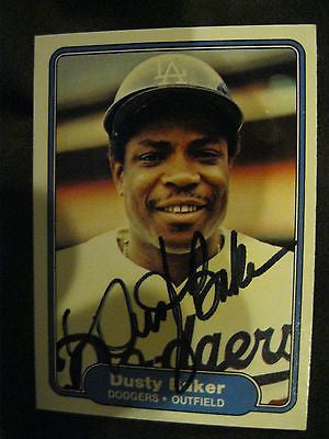 DUSTY BAKER AUTOGRAPHED 1982 FLEER BASEBALL TRADING CARD WITH COA-LA DODGERS OF