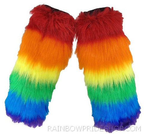 Furry Rainbow Leg Warmers - Rainbow Pride Shop