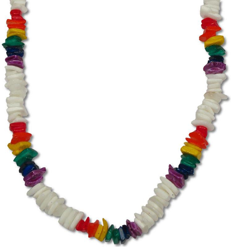 White Chip Shell Necklace with Rainbow - Rainbow Pride Shop