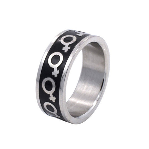 Black Enamel Female Venus Symbol Stainless Steel Ring - Rainbow Pride Shop