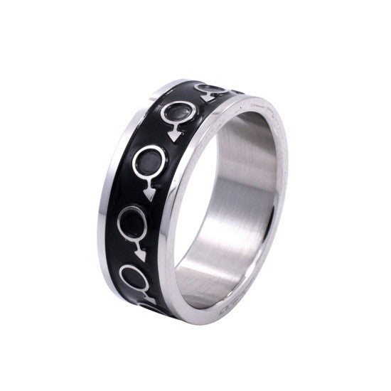 Black Enamel Male Mars Symbol Stainless Steel Ring - Rainbow Pride Shop