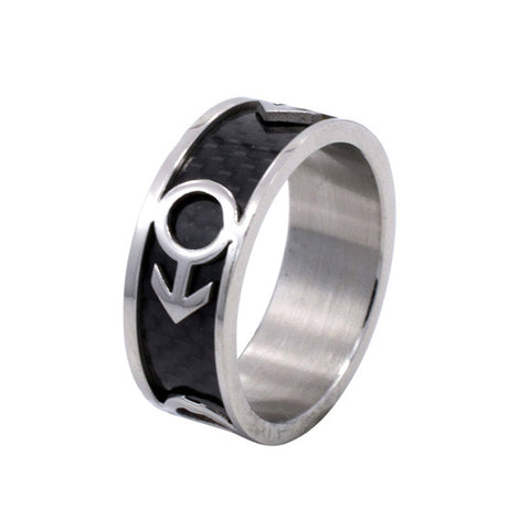 Carbon Fiber Male Mars Symbol Stainless Steel Ring - Rainbow Pride Shop