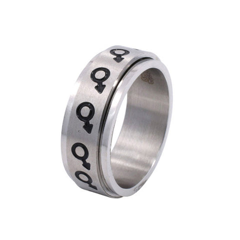 Eternal Spinning Male Mars Symbol Stainless Steel Ring - Rainbow Pride Shop