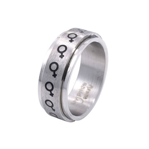 Eternal Spinning Female Venus Symbol Stainless Steel Ring - Rainbow Pride Shop