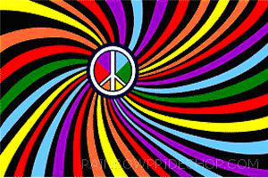 Rainbow Peace Sign Flag - Rainbow Pride Shop