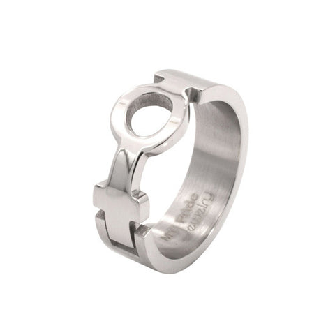 Female Venus Symbol Puzzle Design Stainless Steel Ring - Rainbow Pride Shop