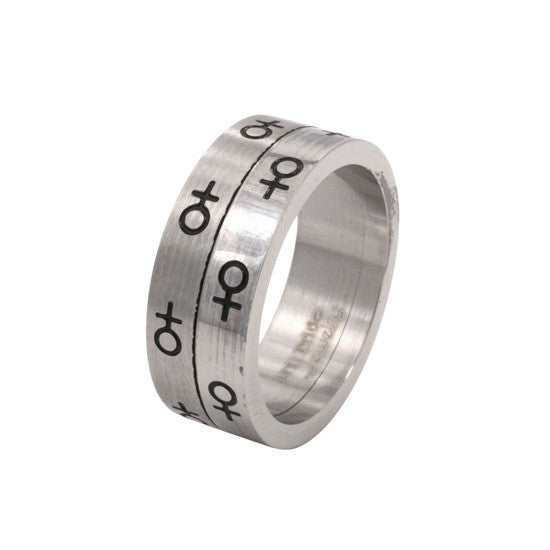 Female Venus Symbol Spinning Stainless Steel Ring - Rainbow Pride Shop