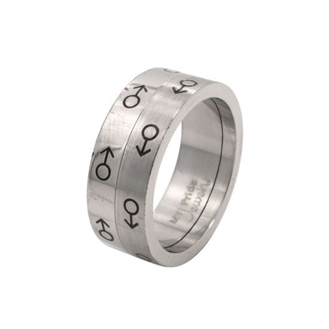 Male Mars Symbol Spinning Stainless Steel Ring - Rainbow Pride Shop