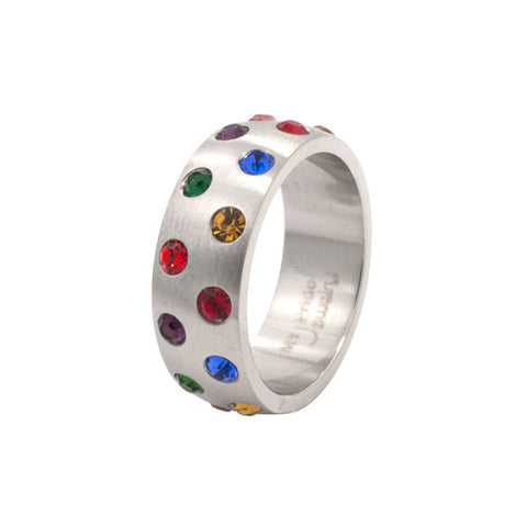 Staggered Multi Gem Rainbow Stainless Steel Ring - Rainbow Pride Shop
