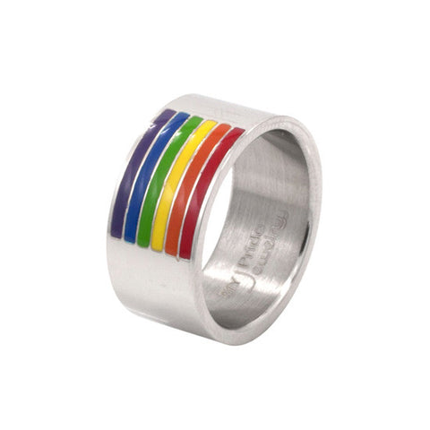 Enamel Rainbow Flag Stainless Steel Ring - Rainbow Pride Shop