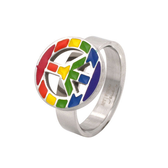 Peace Sign Enamel Stainless Steel Ring - Rainbow Pride Shop