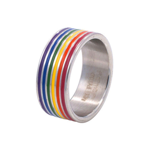 Groovy Rainbow Enamel Stainless Steel Ring - Rainbow Pride Shop