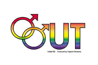 Male Out Pride Sticker - Rainbow Pride Shop