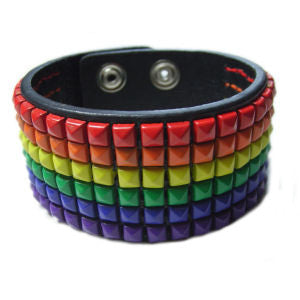 Leather Studded Rainbow Bracelet - Rainbow Pride Shop
