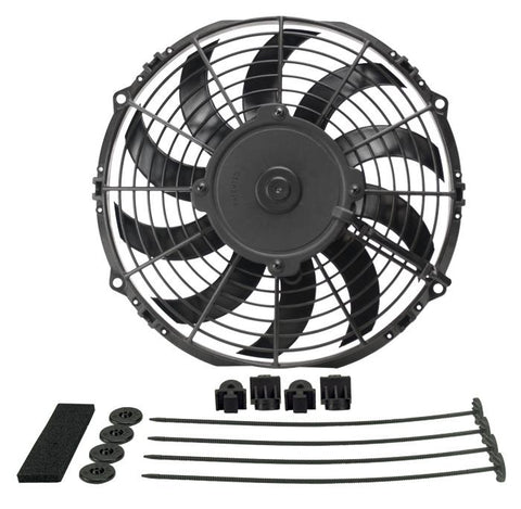 "Derale Performance High Output 12"" Electric Fan with Black Steel Shroud Kit 16918"