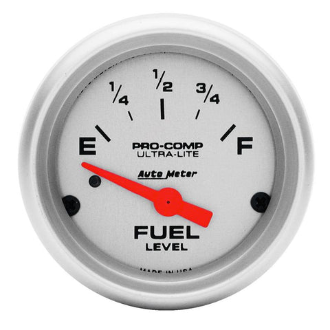 Autometer Ultra-Lite 52mm 0 OHMS Empty/90 OHMS Full Short Sweep Electronic Fuel Level Gauge 4314