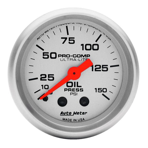 Autometer Ultra-Lite 52mm 0-150 PSI Mechanical Oil Pressure Gauge 4323