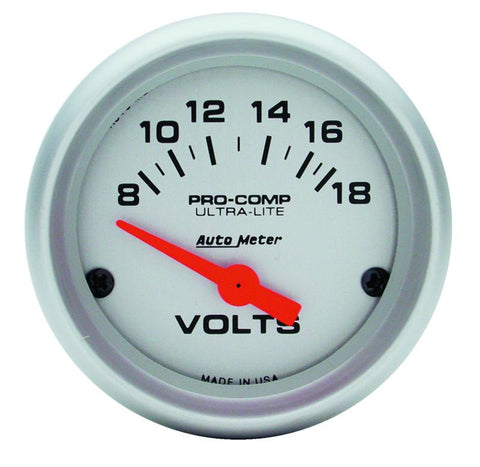 Autometer Ultra-Lite 52mm Short Sweep Electronic Voltage Gauge 4391