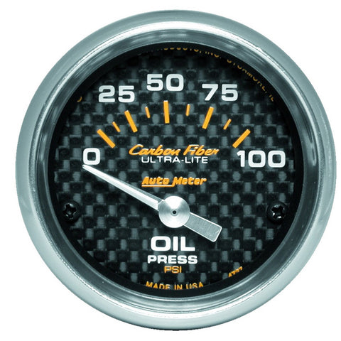 "Autometer 2-1/16"" OIL PRESSURE, 0-100 PSI, AIR-CORE, CARBON FIBER 4727"