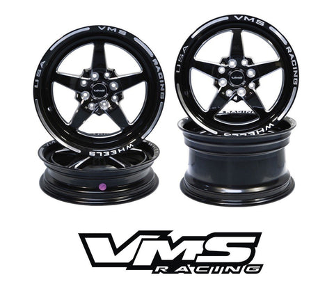 VMS Racing Wheel Star 5 Spoke Front and Rear Drag Wheel 13x9 15x3.5 4x100/4x114 VWST001 VWST003