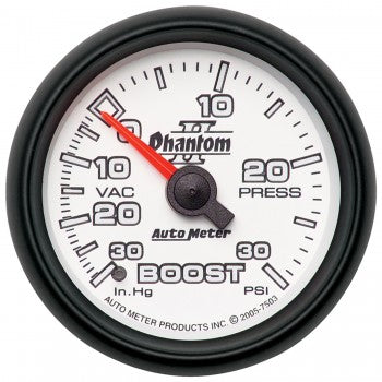 "Auto Meter 2-1/16"" BOOST/VACUUM, 30 IN HG/30 PSI, MECHANICAL, PHANTOM II #7503"