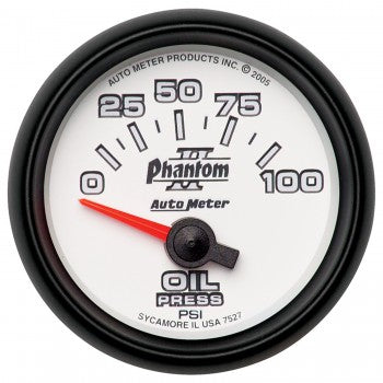 "Auto Meter 2-1/16"" OIL PRESSURE, 0-100 PSI, AIR-CORE, PHANTOM II #7527"