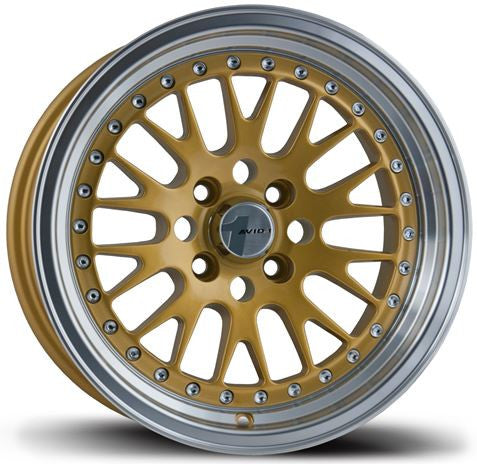 Avid1 Wheels AV12 16x8 4x100/4x114 +15 Gold w/ Machine Lip