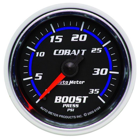 "Auto Meter Products 6104 Colbalt Series 2 1/16"" Boost Gauge 0-35psi #6104"