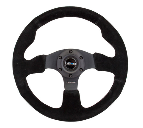 NRG INNOVATIONS Race Style Steering Wheel Black Suede w/ Black Stitch