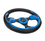 NRG INNOVATIONS Pilota Series Steering Wheel Black Leather w/ Blue Inserts