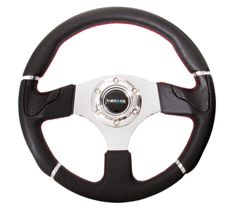 "NRG INNOVATIONS ""Evo"" Sport Leather Steering Wheel w/ Red Stitch and Chrome trim"
