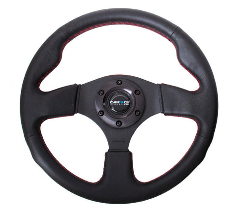 NRG INNOVATIONS Race Style Steering Wheel Black Leather w/ Red Stitch