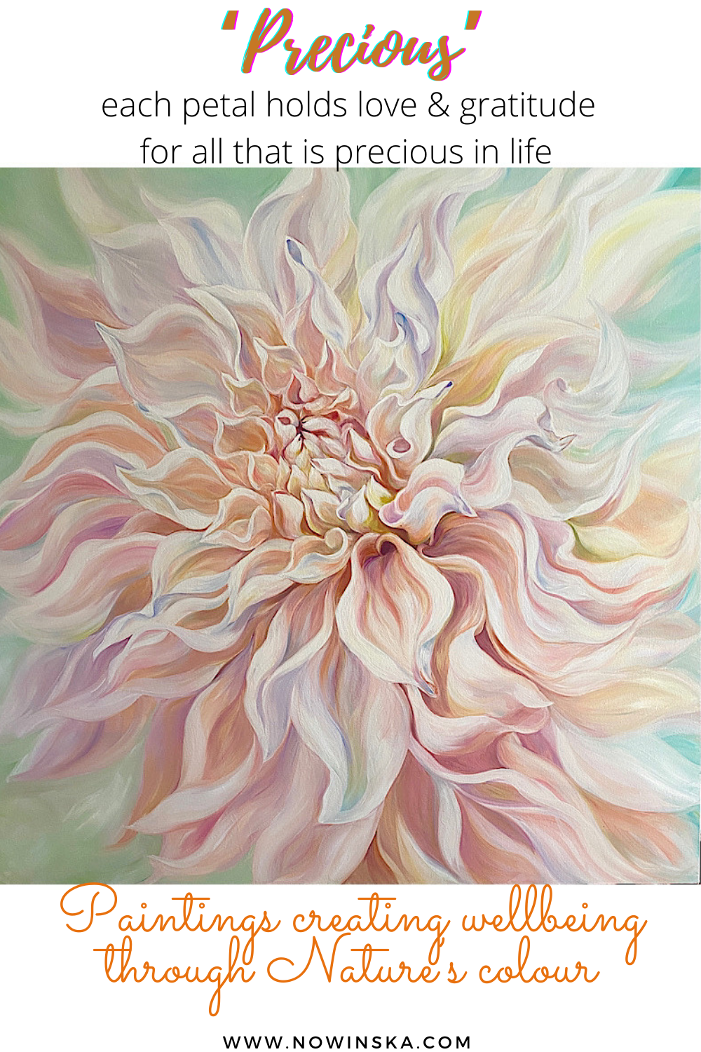 big peach dahlia flower painting by anita nowinska