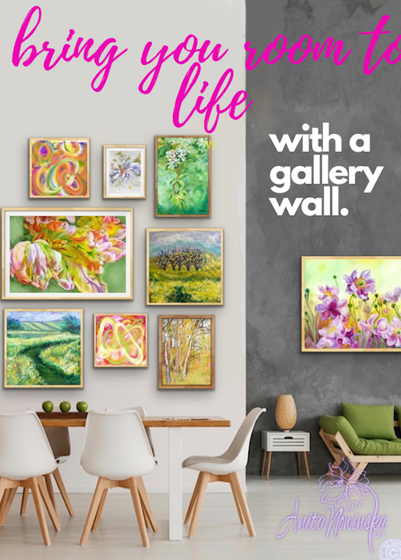 how to hang a gallery wall with Spring energy