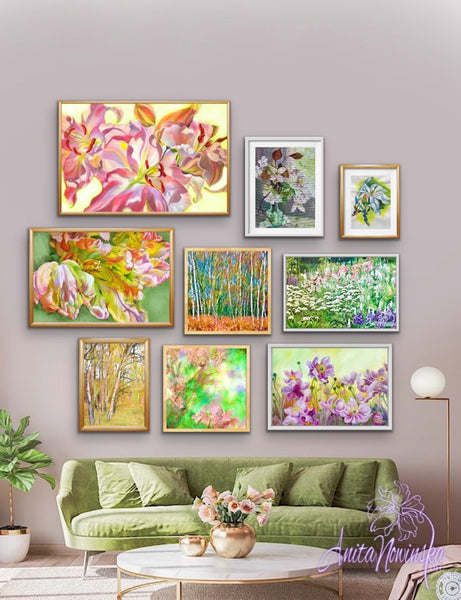 Spring colours gallery wall for living room decor