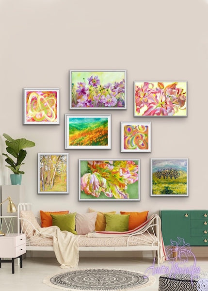 bright spring colours for an uplifting gallery wall